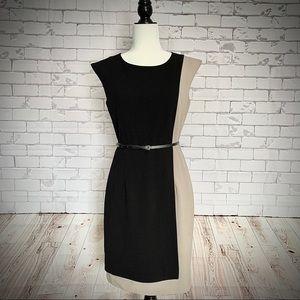 CALVIN KLEIN Colour Block Belted Shift Dress